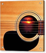 Sunset In Guitar Acrylic Print by Garry Gay