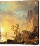 Sunset In The Rockies Acrylic Print by Albert Bierstadt