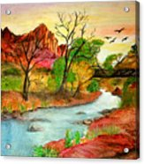 Sunset In Zion Acrylic Print by Joanna Aud