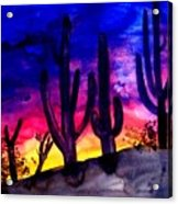 Sunset On Cactus Acrylic Print by Mike Grubb