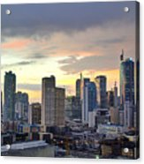 Sunset Over  Makati City, Manila Acrylic Print by Neil Howard