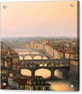 Sunset Over Ponte Vecchio In Florence Acrylic Print by Kiril Stanchev