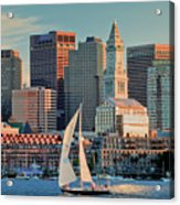 Sunset Sails On Boston Harbor Acrylic Print by Susan Cole Kelly
