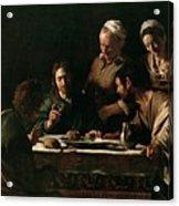 Supper At Emmaus Acrylic Print by Michelangelo Merisi da Caravaggio