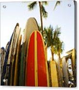 Surfboards At Waikiki Acrylic Print by Dana Edmunds - Printscapes