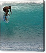 Surfer Dropping In The Blue Waves At Dumps Maui Hawaii Acrylic Print by Pierre Leclerc Photography