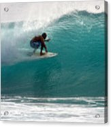Surfer Surfing In The Tube Of Blue Waves At Dumps Maui Hawaii Acrylic Print by Pierre Leclerc Photography
