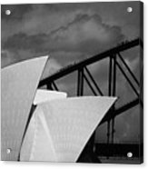Sydney Opera House With Harbour Bridge Acrylic Print by Avalon Fine Art Photography