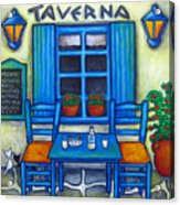 Table For Two In Greece Acrylic Print by Lisa  Lorenz