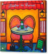 Table For Two In Paris Acrylic Print by Lisa  Lorenz