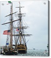 Tall Ships Hms Bounty And Privateer Lynx At Peanut Island Florida Acrylic Print by Michelle Wiarda