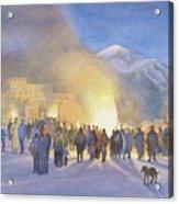 Taos Pueblo On Christmas Eve Acrylic Print by Jane Grover