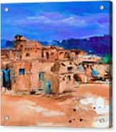 Taos Pueblo Village Acrylic Print by Elise Palmigiani