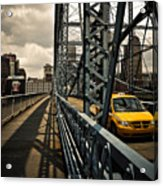 Taxi Crossing Smithfield Street Bridge Pittsburgh Pennsylvania Acrylic Print by Amy Cicconi