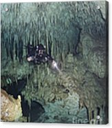 Technical Diver In Cave System, Mexico Acrylic Print by Karen Doody