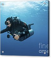 Technical Diver With Equipment Swimming Acrylic Print by Karen Doody