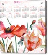 Template For Calendar 2013 Acrylic Print by Regina Jershova