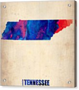 Tennessee Watercolor Map Acrylic Print by Naxart Studio