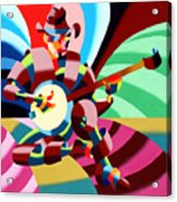 The Abstract Futurist Cowboy Banjo Player Acrylic Print by Mark Webster