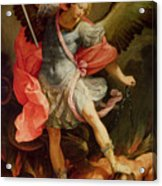 The Archangel Michael Defeating Satan Acrylic Print by Guido Reni