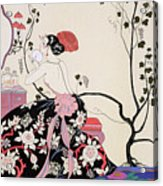 The Backless Dress Acrylic Print by Georges Barbier