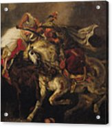 The Battle Of Giaour And Hassan Acrylic Print by Ferdinand Victor Eugene Delacroix