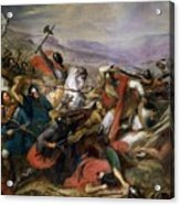 The Battle Of Poitiers Acrylic Print by Charles Auguste Steuben