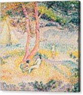 The Beach At St Clair Acrylic Print by Henri-Edmond Cross
