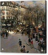 The Boulevard Des Italiens Acrylic Print by Jean Francois Raffaelli