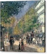 The Boulevards  Acrylic Print by Pierre Auguste Renoir