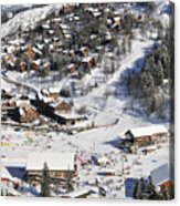 The Busy Chaudanne In Meribel The Heart Of Meribel In The Three Valleys Resort France Acrylic Print by Andy Smy