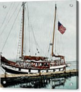 The Cutty Sark In Penn Cove Fog Acrylic Print by Perry Woodfin