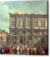 The Doge Visiting The Church And Scuola Di San Rocco Acrylic Print by Canaletto