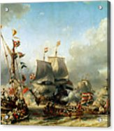 The Embarkation Of Ruyter And William De Witt In 1667 Acrylic Print by Louis Eugene Gabriel Isabey
