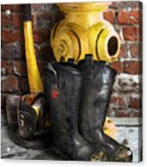 The Fireman Acrylic Print by Bill Fleming