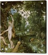 The Garden Of Eden With The Fall Of Man Acrylic Print by Jan Brueghel and Rubens