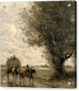 The Haycart Acrylic Print by Jean Baptiste Camille Corot