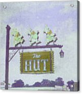 The Hut Bbq Restaurant Sign Acrylic Print by Jerry Grissom