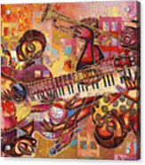 The Jazz Dimension  Acrylic Print by Larry Poncho Brown