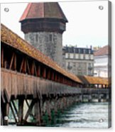 The Kapellbrucke On The River Rueuss Acrylic Print by Greg Sharpe
