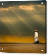 The Lighthouse As The Storm Breaks Acrylic Print by Meirion Matthias