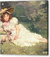 The Little Shepherdess Acrylic Print by Arthur Dampier May