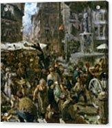 The Market Of Verona Acrylic Print by Adolph Friedrich Erdmann von Menzel