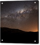 The Milky Way Setting Behind The Hills Acrylic Print by Luis Argerich