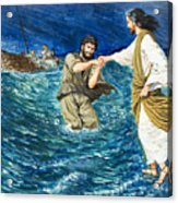 The Miracles Of Jesus Walking On Water  Acrylic Print by Clive Uptton