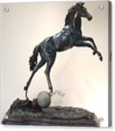 The Moonhorse Bronze Acrylic Print by Dawn Senior-Trask