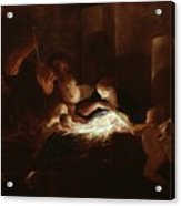 The Nativity Acrylic Print by Pierre Louis Cretey or Cretet