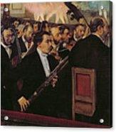 The Opera Orchestra Acrylic Print by Edgar Degas
