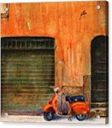 The Orange Vespa Acrylic Print by Karen Fleschler