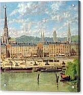The Port At Rouen Acrylic Print by Torello Ancillotti